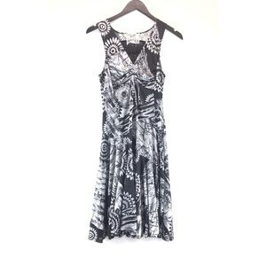 Desigual Floral Fit Flare Ruched Sleeveless Dress